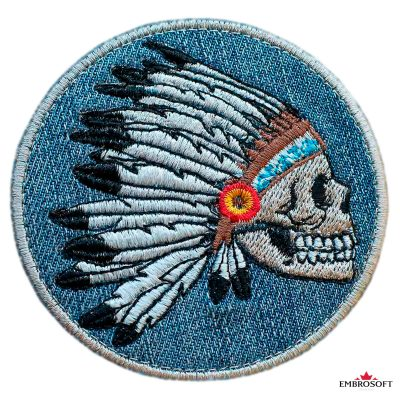 Indian Skull with Feather embroidered patch