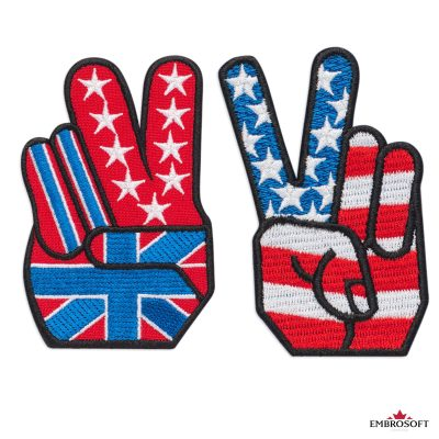 Victory Hand with the UK and USA flag