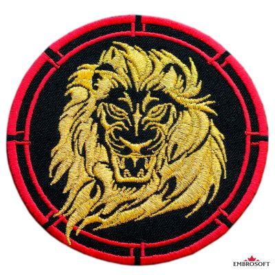 Embroidered angry lion animal patch