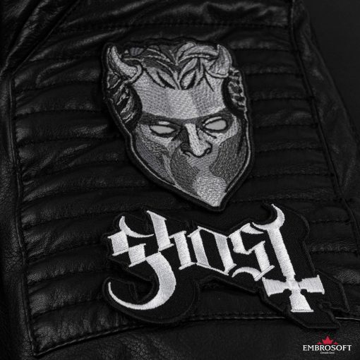 ghost mask Leather Jacket and logo