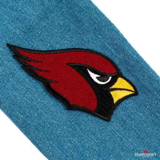 red bird arizona cardinals on jeans patch
