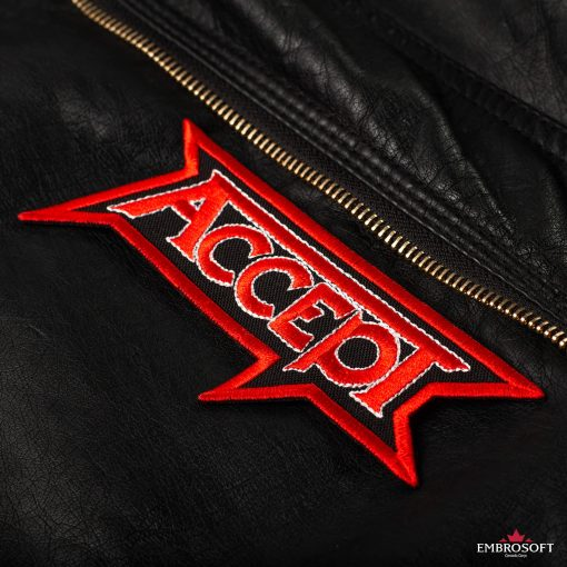 Accept logo patch for a leather jacket