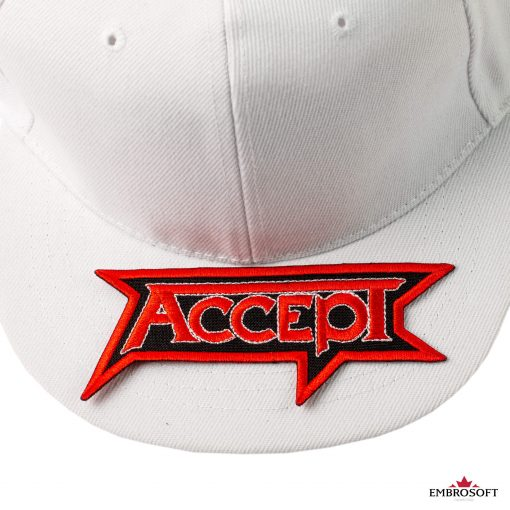 Accept logo patch on a white cap