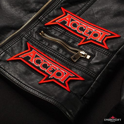 Accept logo small patch embroidery