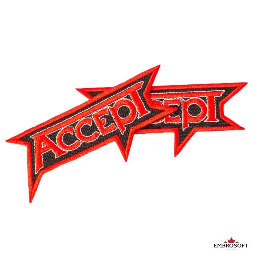 Accept red logo embroidered patch for backpacks