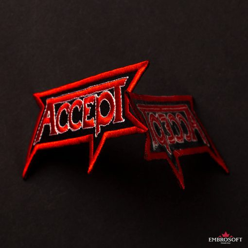 Accept rock band logo patch black background collage