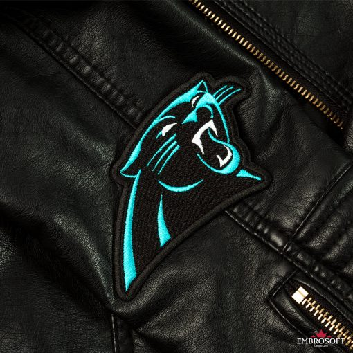 Carolina Panthers emblem patch on a leather sleeve