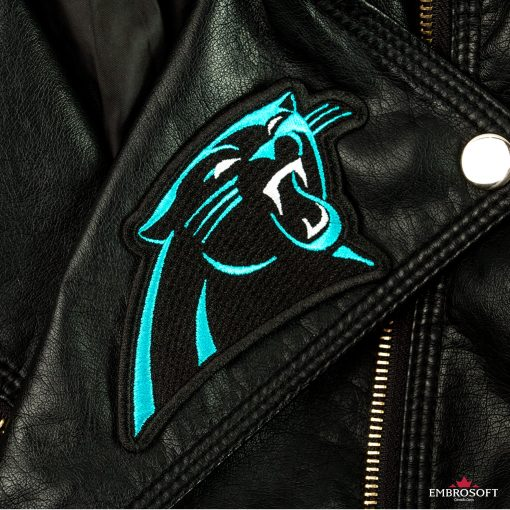 Carolina Panthers embroidered logo patch denim jacket