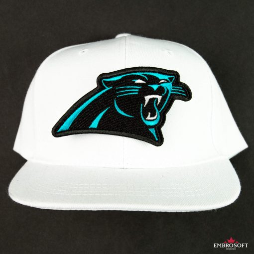 Carolina Panthers embroidered patch on a white cap