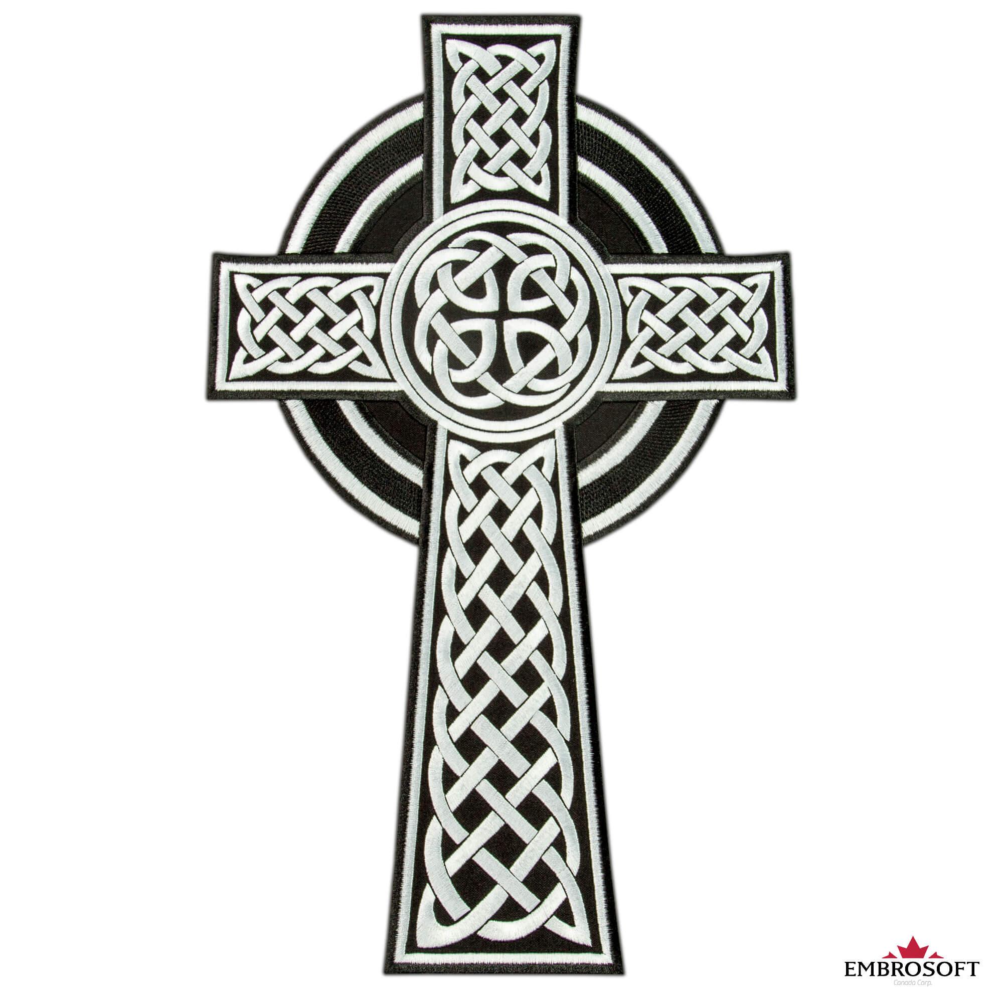 Celtic Cross Patch Religious Ethnic Emblem Embroidered Iron On 2 Sizes Embrosoft