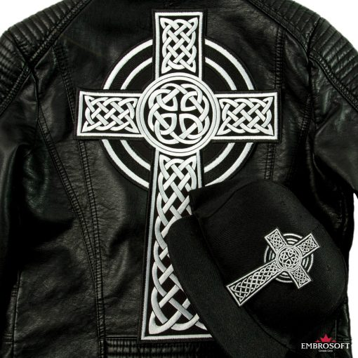 Celtic Cross embroidery leather jacket and a cap