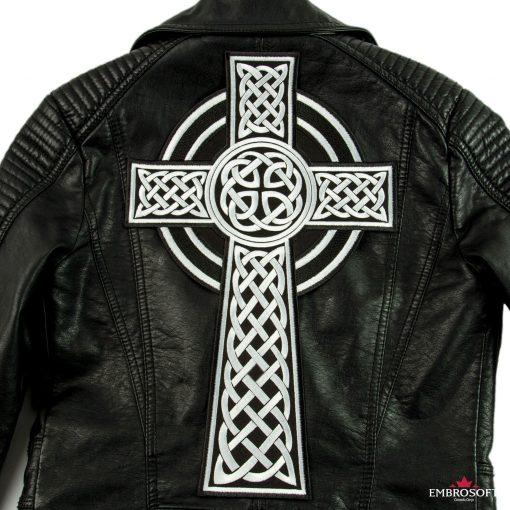 Celtic Cross irish christian emblem patch on a leather jacket