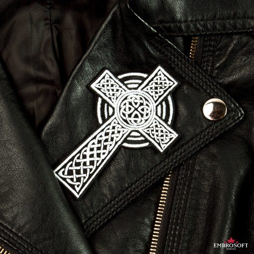 Celtic Cross patch embroidered iron on for jackets