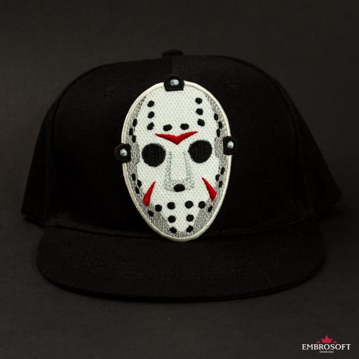 Friday the th mask patch embroidered on a black cap