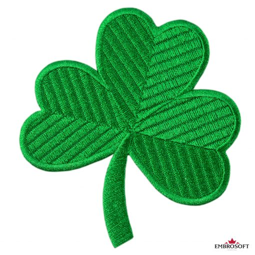 Green clover embroidered small patch