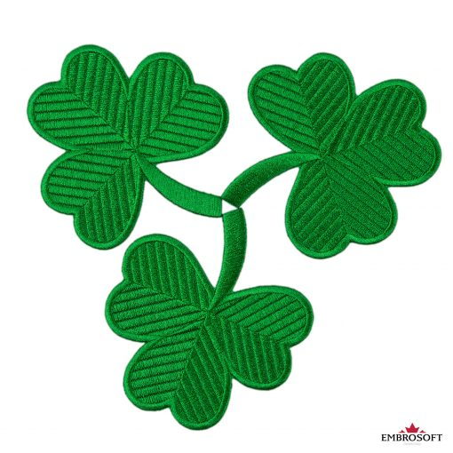 Green clover shamrock embroidered patch logo