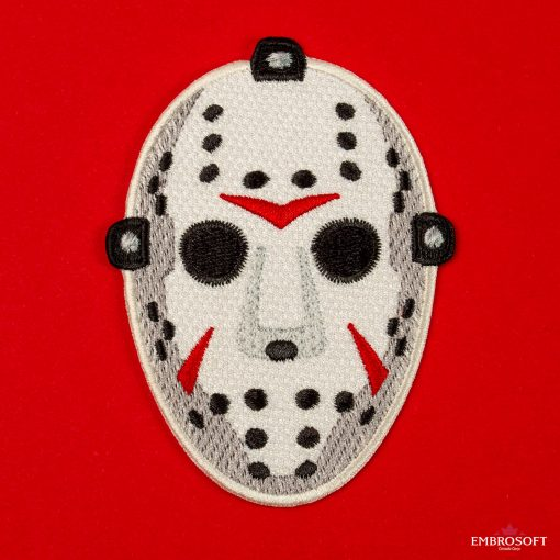 Horror Jason halloween mask embroidered patch with red background