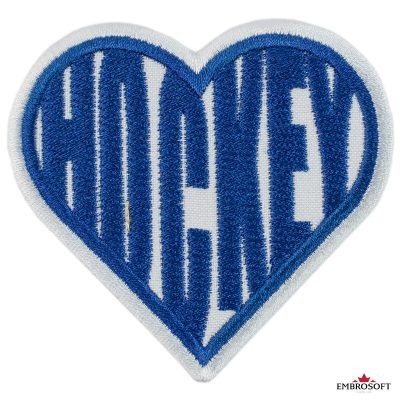 I love hockey heart embroidered patch
