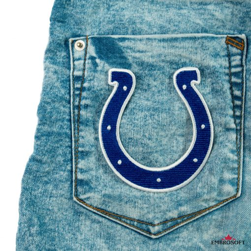 Indianapolis Colts embroidered logo patch on a back pocket jeans