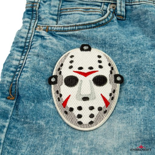 Jason hockey mask embroidery patch for jeans