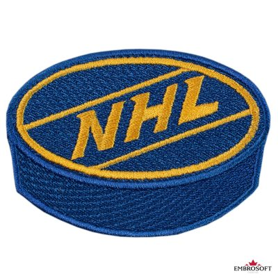 NHL logo hockey puck blue and yellow