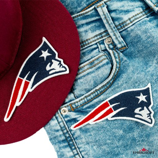 New England Patriots cap and jeans with embroidered patch