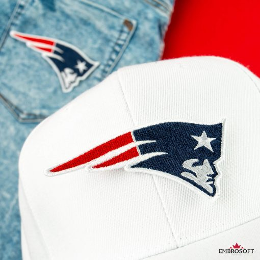 New England Patriots on a white cap and jeans