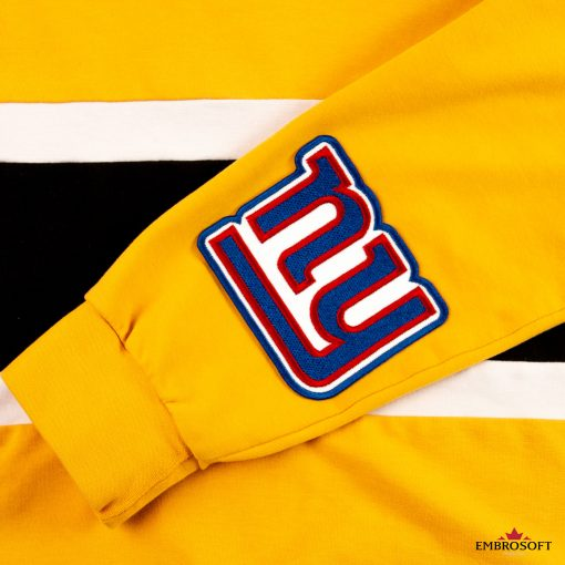New York Giants sleeve on a yellow hoodie patch