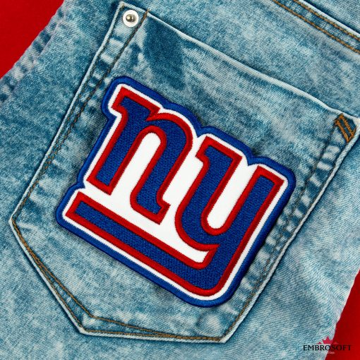 New York Giants team logo embroidery on a back pocket jeans
