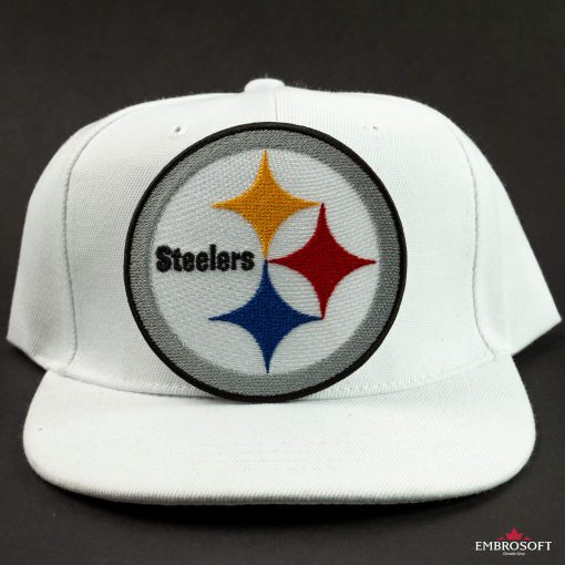 Pittsburgh Steelers logo patch on a white cap