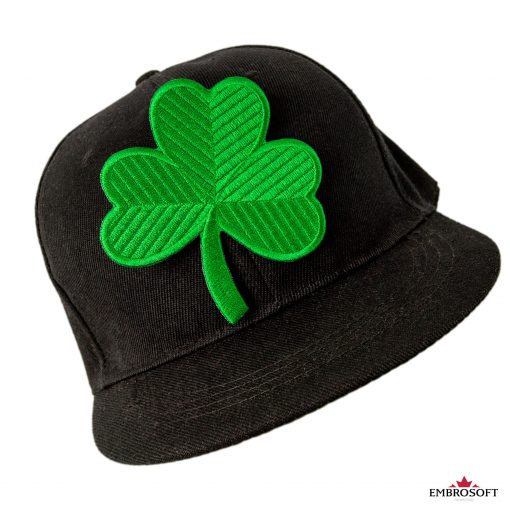 Saint Patrick's day clover black cap embroidered patch