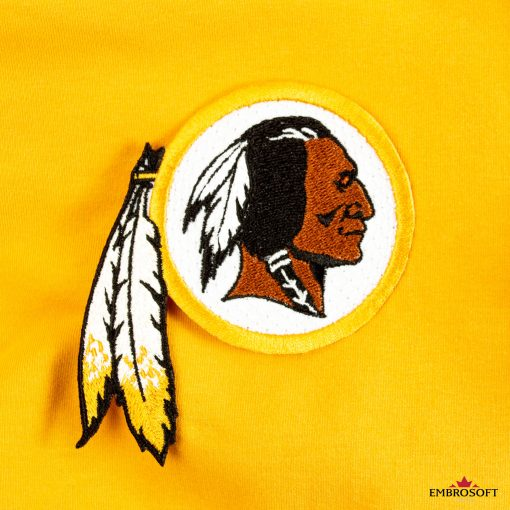 Washington Redskins embroidered patch on a yellow jacket