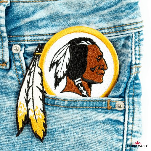 Washington Redskins in the front pocket of jeans patch