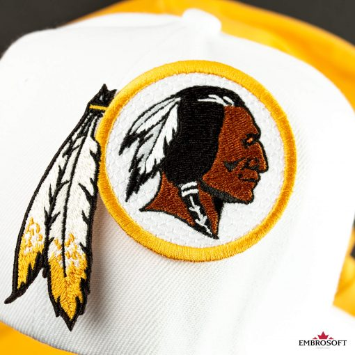 Washington Redskins patch on a white cap