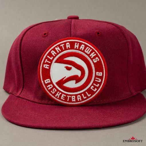 Atlanta Hawks NBA embroidered emblem on a red cap