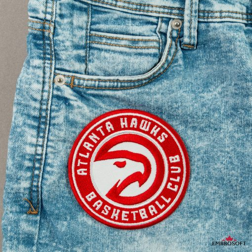 Atlanta Hawks NBA team emblem patch front pocket jeans