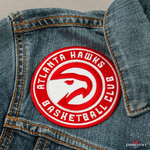 Atlanta Hawks NBA team embroidery on front of a jeans jacket