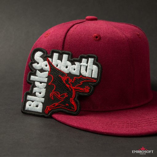 Black Sabbath red cap with embroidered rock logo patch