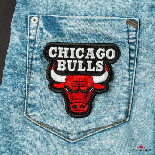 Chicago Bulls NBA embroidered badges jeans back pocket or backpack