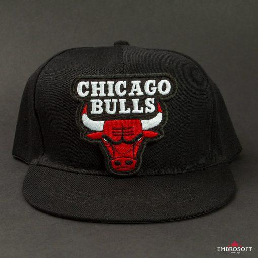 Chicago Bulls NBA team embroidered emblem patch on a black cap