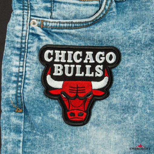 Chicago Bulls NBA team embroidered emblem patches front pocket jeans