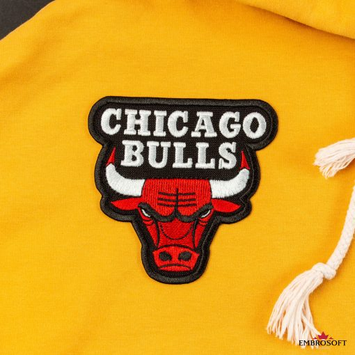 Chicago Bulls NBA team embroidered patch emblem yellow hoody