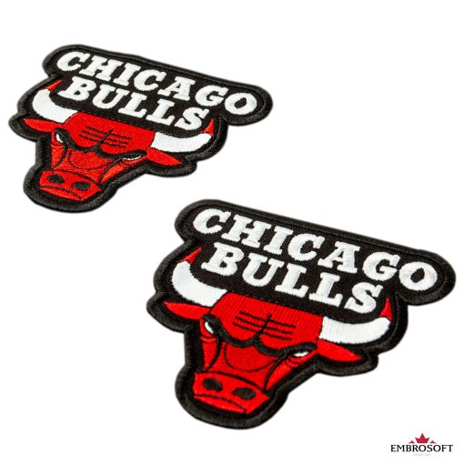 Chicago Bulls NBA team embroidery emblem white background
