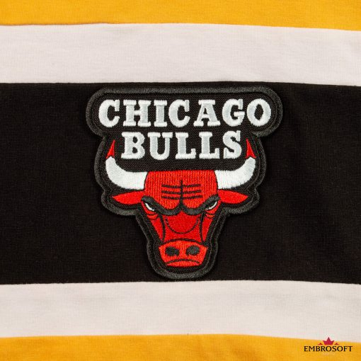 Chicago Bulls NBA team patches emblem yellow hoody black and white