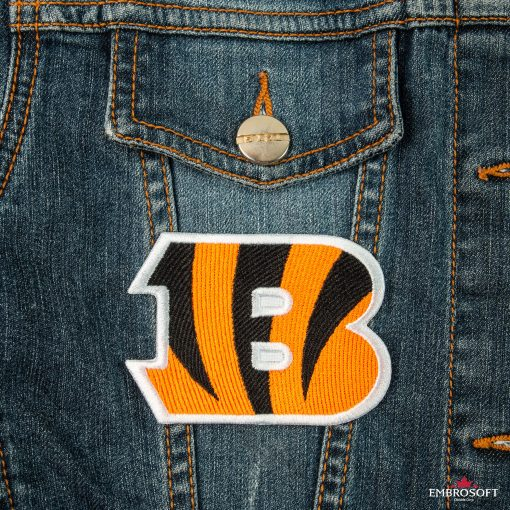Cincinnati Bengals NFL team emblem embroidered sports patches jeans jacket