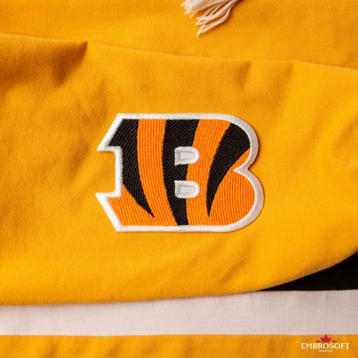 Cincinnati Bengals NFL team emblem embroidered sports patches yellow hoody sleeve
