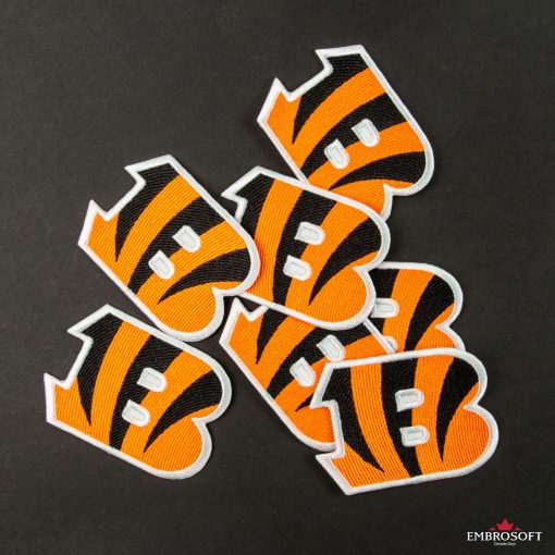 Cincinnati Bengals NFL team embroidered patches black background collage