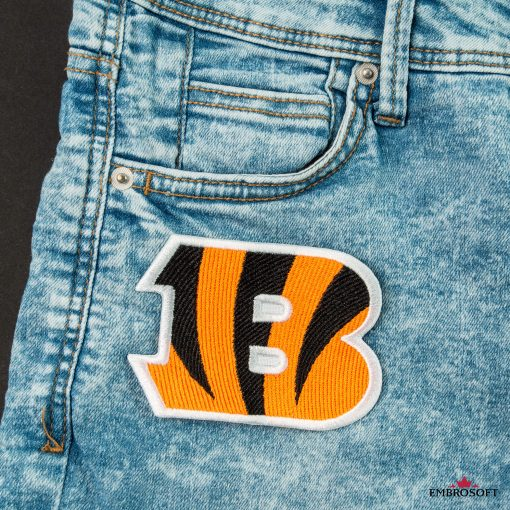 Cincinnati Bengals NFL team logo embroideredy on a jeans front pocket