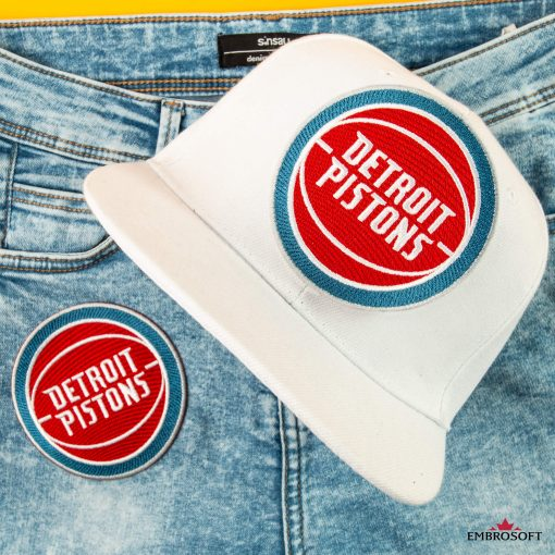 Detroit Pistons NBA jeans patches embroidery for cap