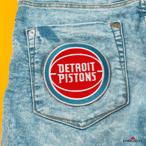 Detroit Pistons embroidered NBA team emblem on jeans back pocket